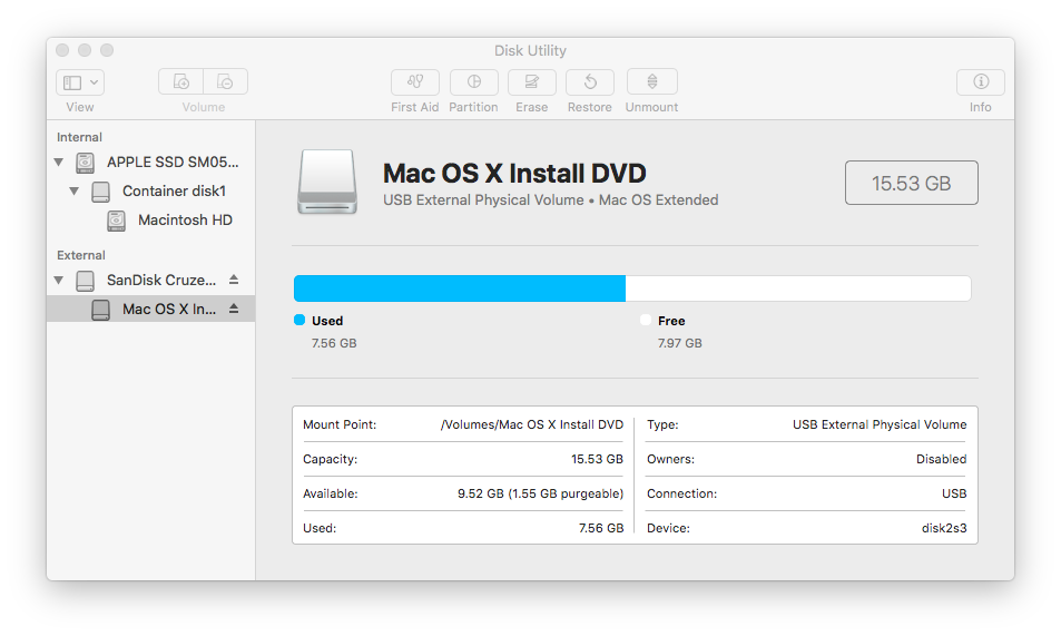 Disk Utility screen shot showing the installation partition on the USB flash drive